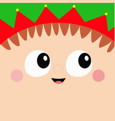 santa claus merry christmas elf square head face vector image