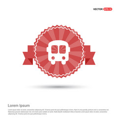 School bus icon - red ribbon banner vector