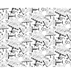 Seamless hand draw pattern with pieces of cakes vector image vector image