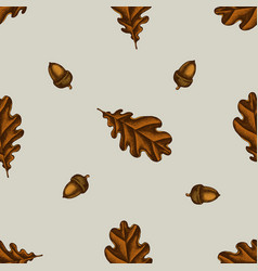 seamless pattern with hand drawn colored oak vector image