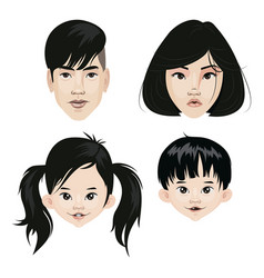 Set a family asian nationality a collection vector
