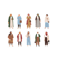 Set modern arabic women wearing fashion clothes vector