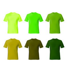 shirt design template set men t shirt green khaki vector image