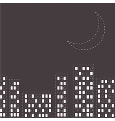 Silhouette of the night city Dash line moon vector