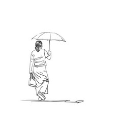 sketch walking woman with umbrella back view vector image