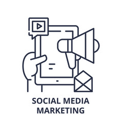 social media marketing concept line icon concept vector image