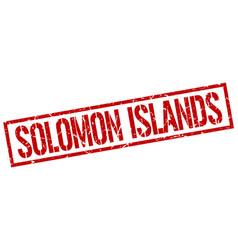 Solomon islands red square stamp vector