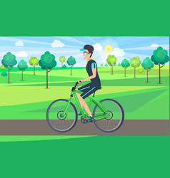 Sportsman riding bike in countryside vector