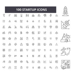 startup editable line icons 100 set vector image