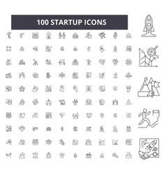 Startup editable line icons 100 set vector