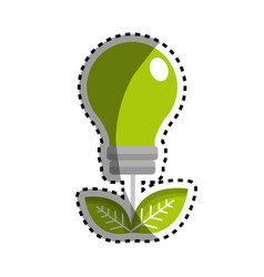 Sticker green energy bulb with leaves icon vector