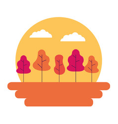 sunset landscape trees outdoors natural vector image