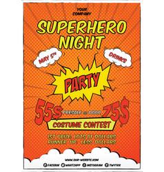 superhero event flyer template vector image
