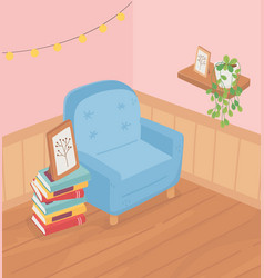 Sweet home sofa books stacked frame plant on shelf vector