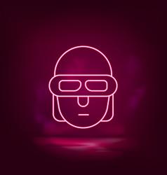 terminator smart neon icon - artificial vector image