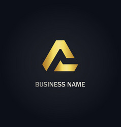 triangle a initial abstract company gold logo vector image