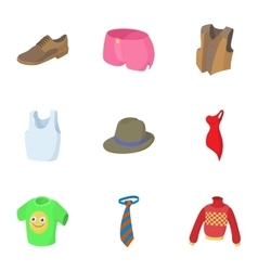 Types of clothes icons set cartoon style vector