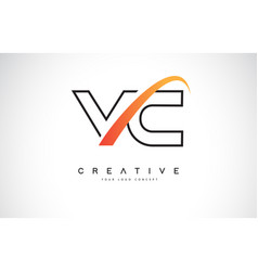 Vc v c swoosh letter logo design with modern vector