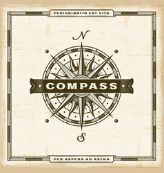 Vintage compass label vector