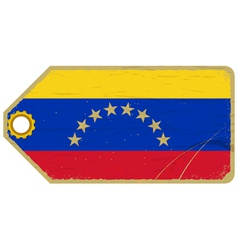 Vintage label with the flag of Venezuela vector image