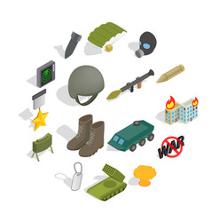 war icons set isometric 3d style vector image