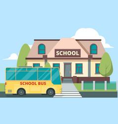 Yellow bus near school education concept vector