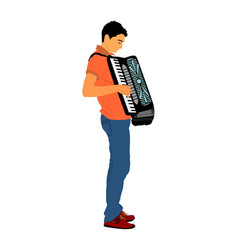 Young musician accordion man play music song vector