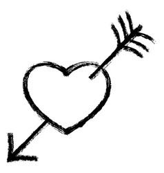 black heart pierced arrow vector image vector image