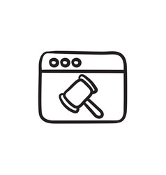 Browser window with judge hammer sketch icon vector
