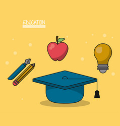 colorful poster of education with graduation cap vector image vector image