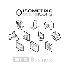 Isometric outline icons set 42 vector