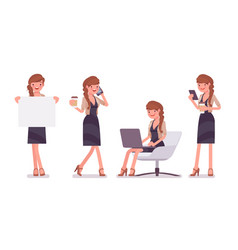 pretty female office employee sitting at chair vector image