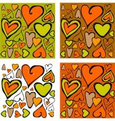 retro hearts background vector image vector image