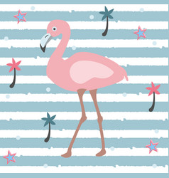 flamingo on stripped background vector image