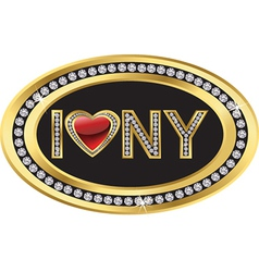 I love NY label vector image vector image