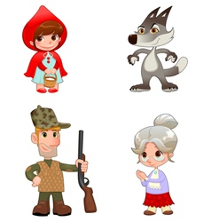 Little Red Hiding Hoods characters vector image