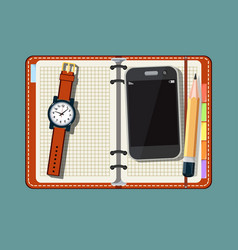 Notepad smart phone and watch on vector