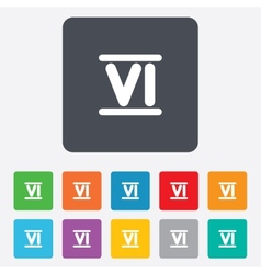 Roman numeral six icon Roman number six sign vector image