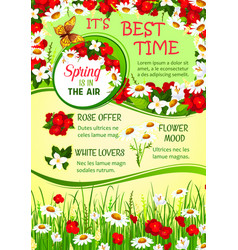 spring holidays flower wreath greeting poster vector image vector image
