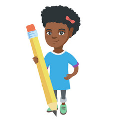 african kid girl standing with a huge pencil vector image vector image