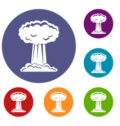 mushroom cloud icons set vector image vector image