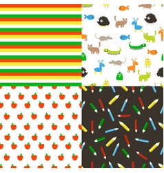 seamless flat patterns vector image vector image