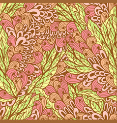 seamless floral pink and green pattern vector image vector image