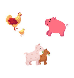 set of cartoon farm animals - chicken pig goat vector image