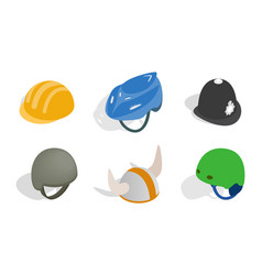 different helmet icon set isometric style vector image vector image