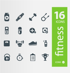 Fitness icons Set of 16 Quality icon vector image