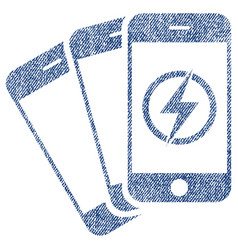 Mobile phones energy fabric textured icon vector