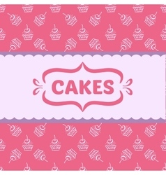 Pattern with cakes and cupcakes vector image vector image