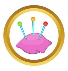 Sewing pins and pin cushion icon vector image
