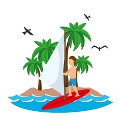 surfing man waves beach tropical vector image